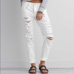 American Eagle White Distressed Slouchy Jeans